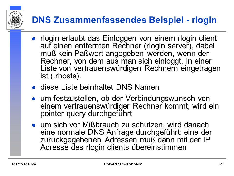 DNS Zusammenfassendes Beispiel - rlogin