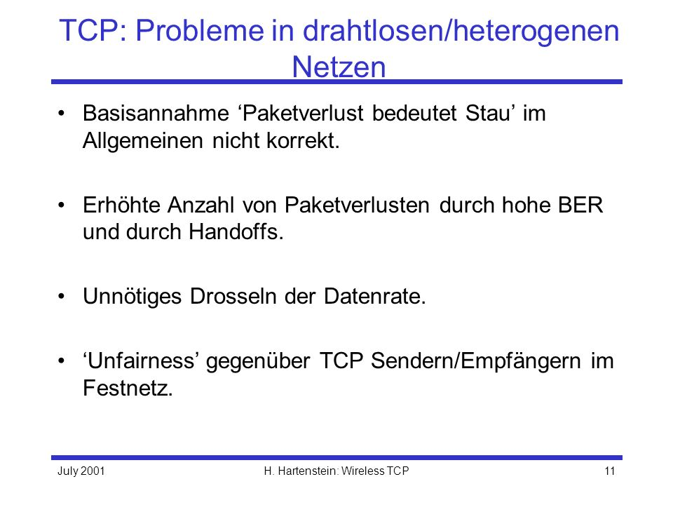 TCP: Probleme in drahtlosen/heterogenen Netzen
