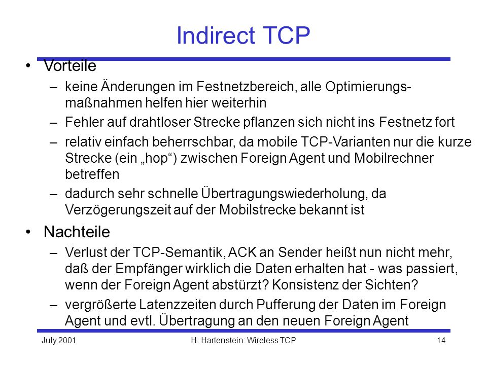 H. Hartenstein: Wireless TCP