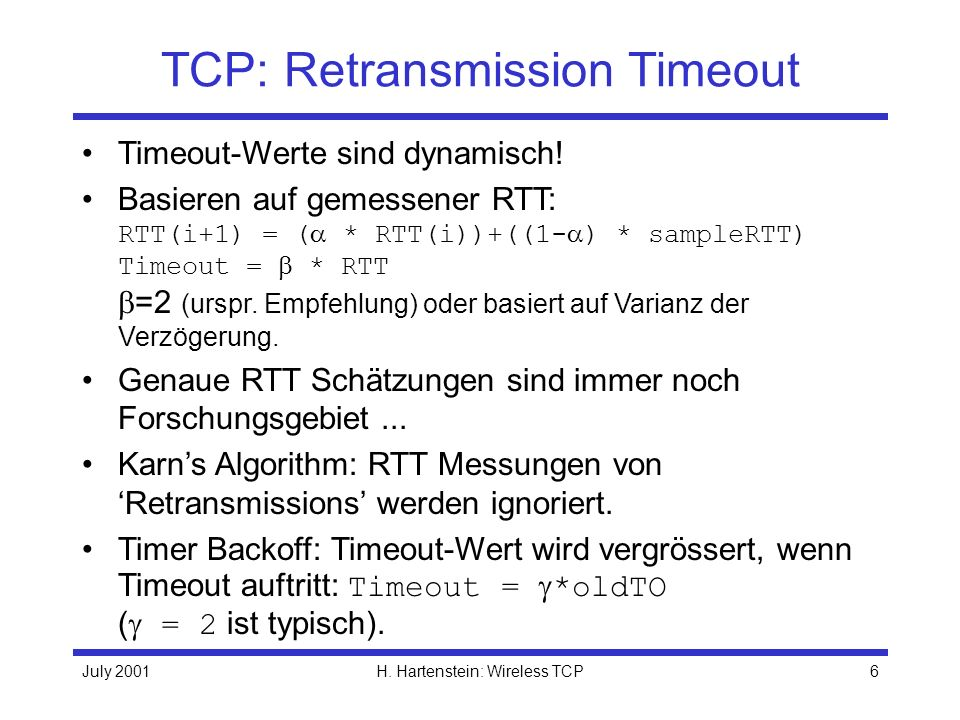 TCP: Retransmission Timeout