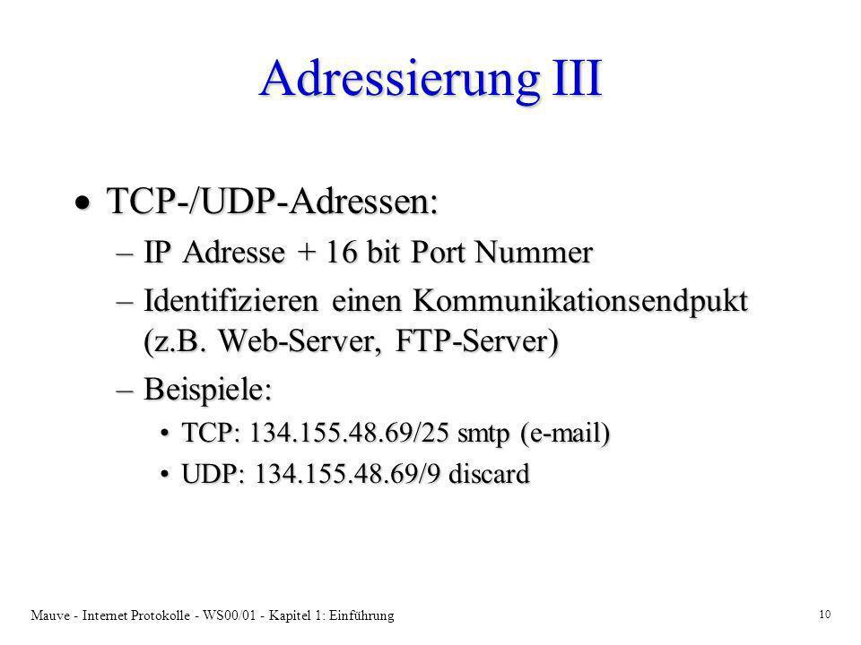 Adressierung III TCP-/UDP-Adressen: IP Adresse + 16 bit Port Nummer
