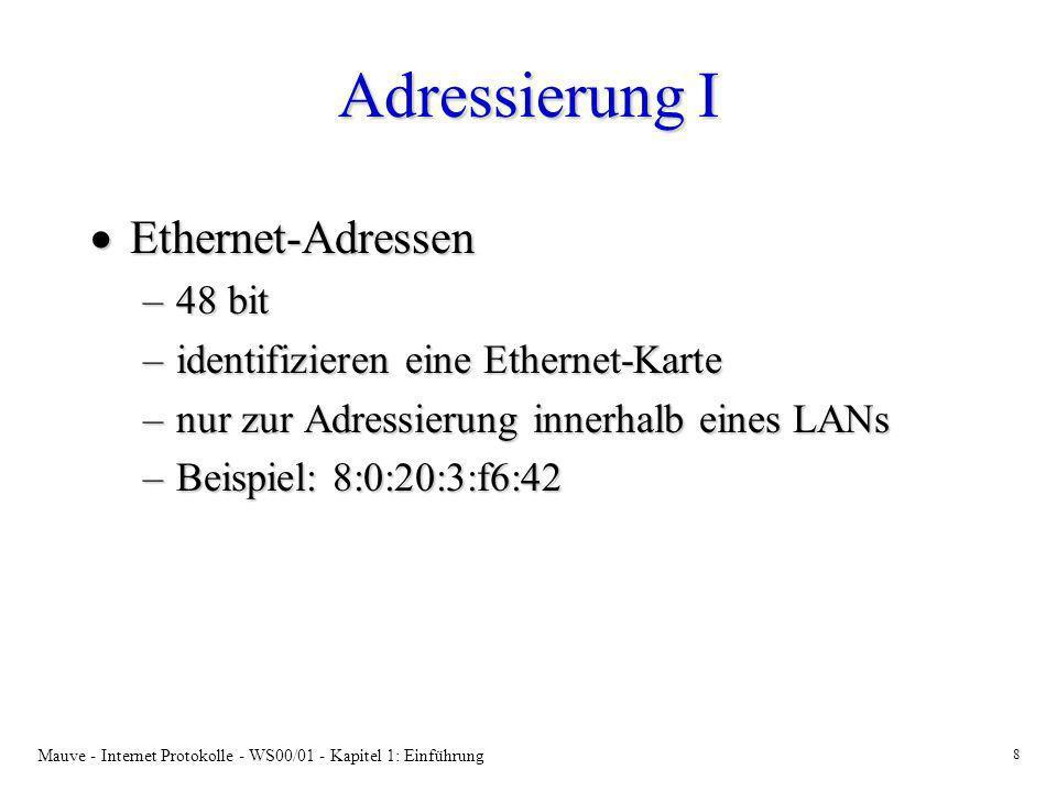 Adressierung I Ethernet-Adressen 48 bit