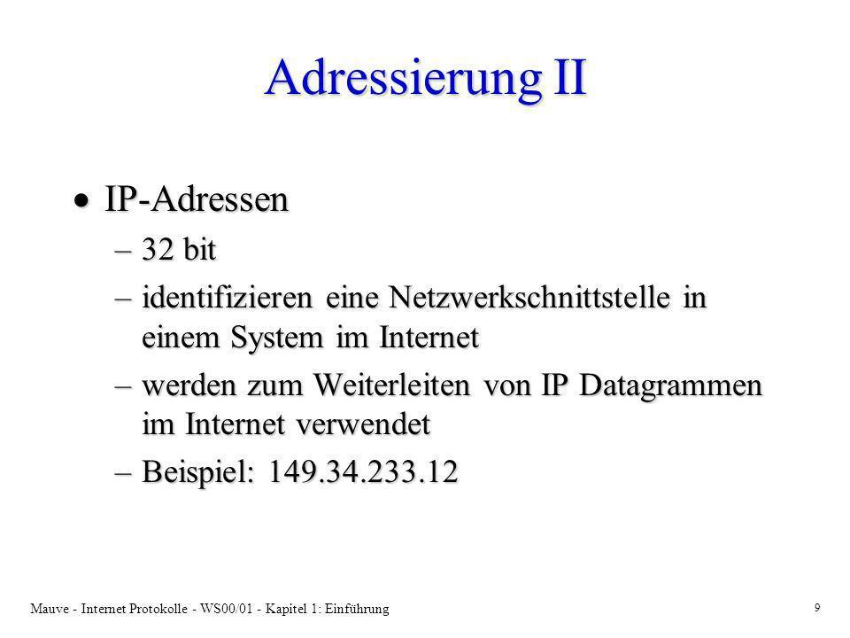 Adressierung II IP-Adressen 32 bit
