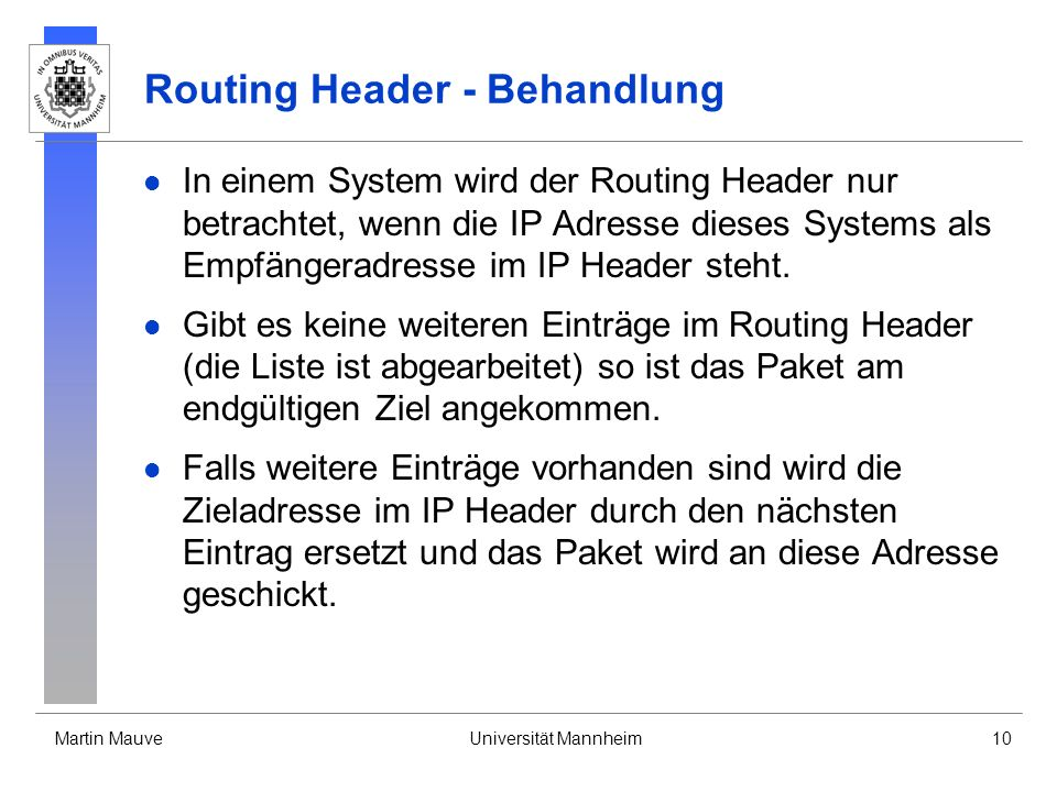 Routing Header - Behandlung