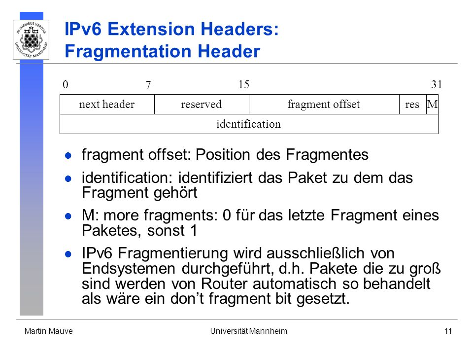 IPv6 Extension Headers: Fragmentation Header