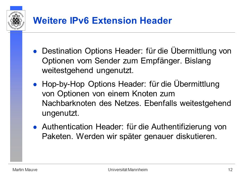 Weitere IPv6 Extension Header