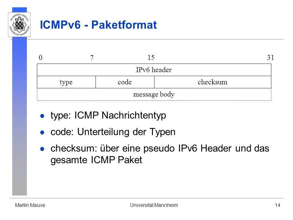 ICMPv6 - Paketformat type: ICMP Nachrichtentyp