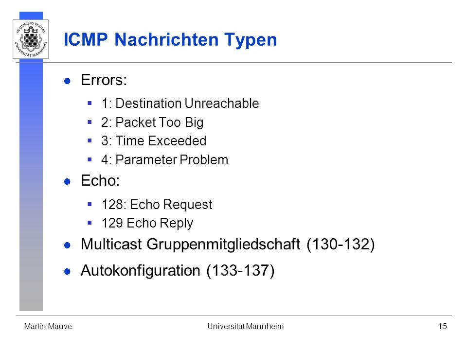 ICMP Nachrichten Typen