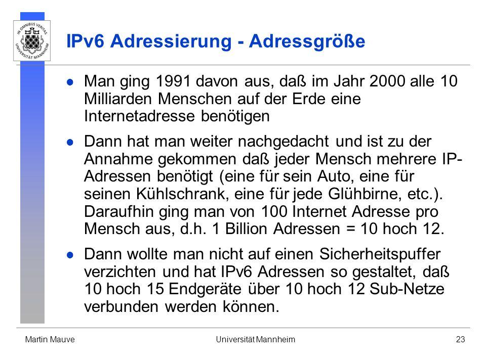 IPv6 Adressierung - Adressgröße