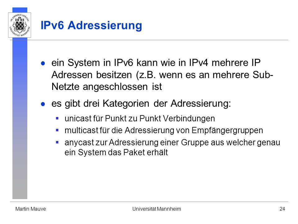 IPv6 Adressierung ein System in IPv6 kann wie in IPv4 mehrere IP Adressen besitzen (z.B. wenn es an mehrere Sub-Netzte angeschlossen ist.