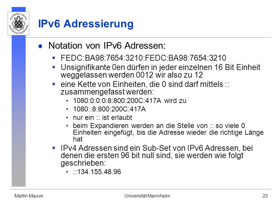 IPv6 Adressierung Notation von IPv6 Adressen: