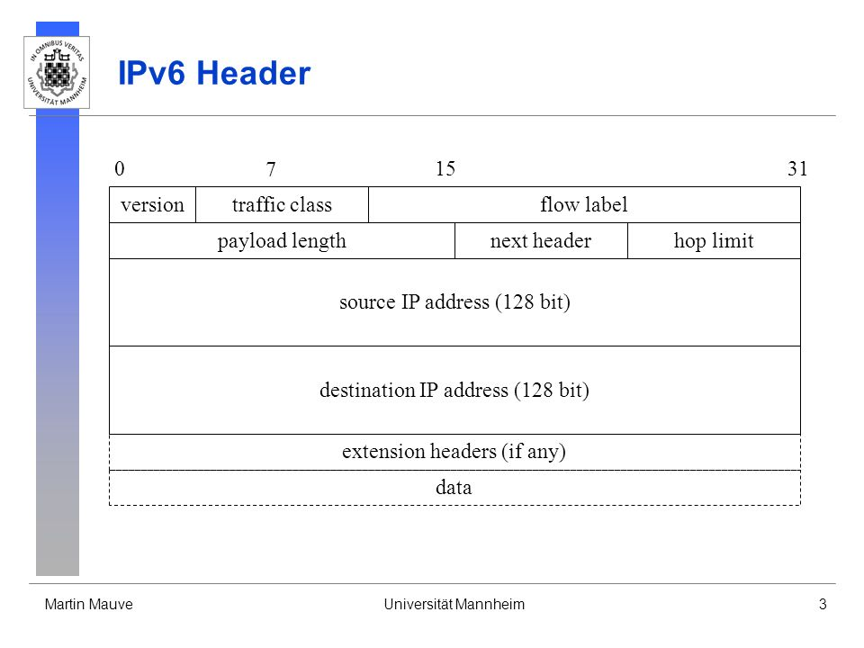 IPv6 Header version traffic class flow label payload length