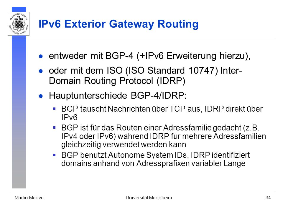 IPv6 Exterior Gateway Routing