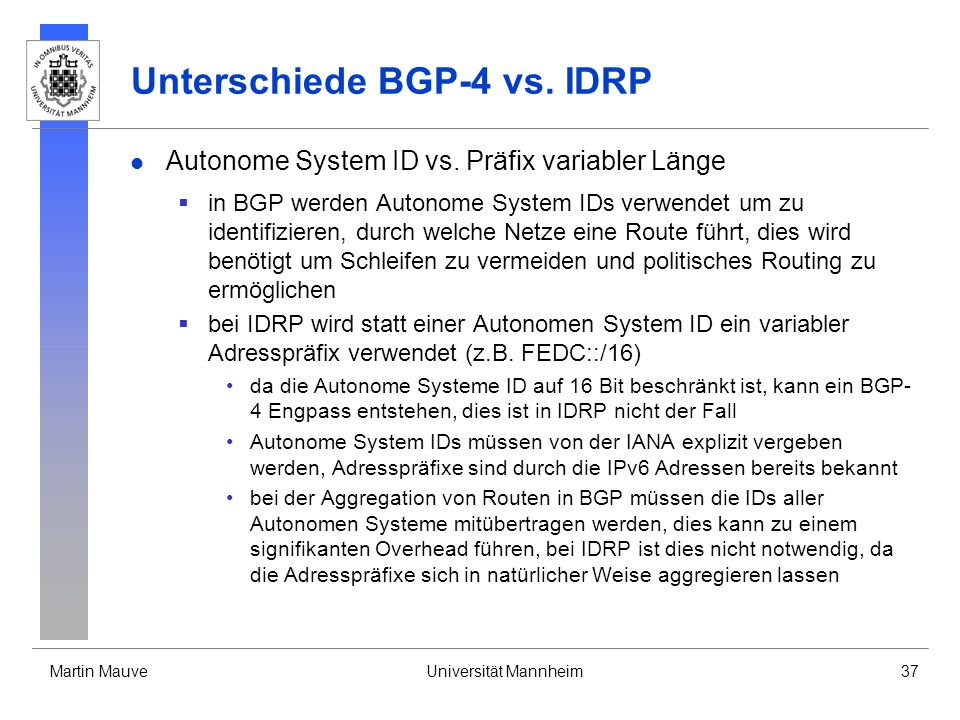 Unterschiede BGP-4 vs. IDRP