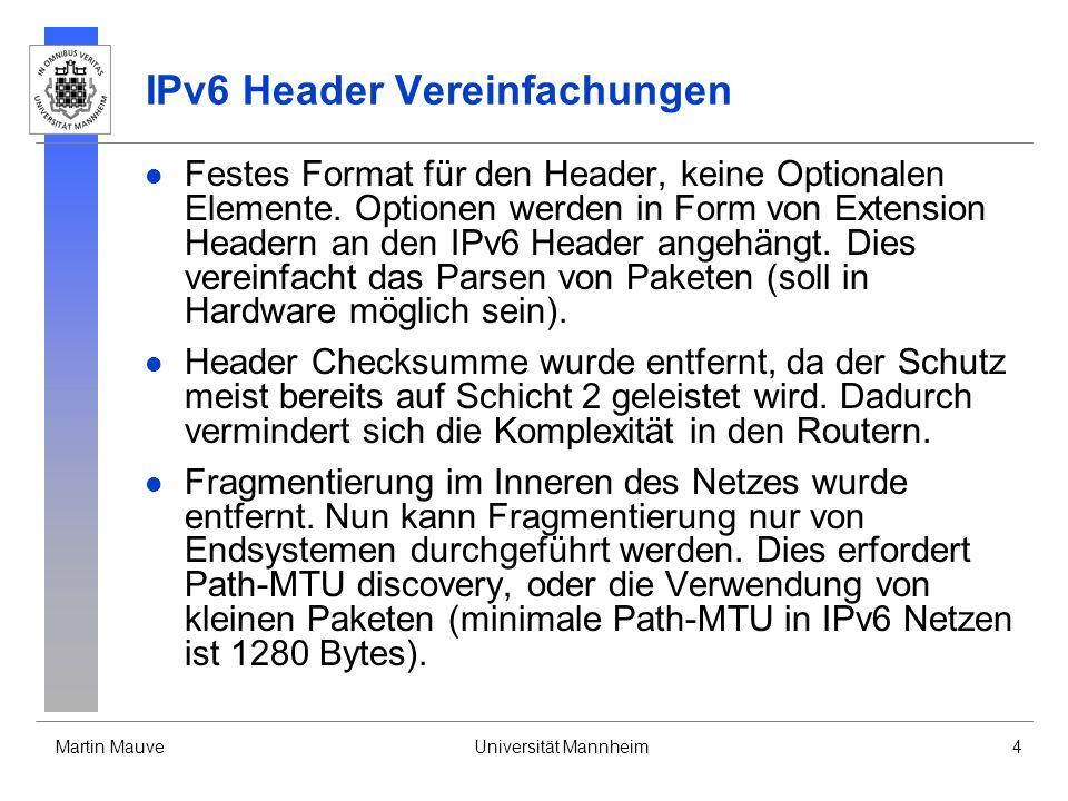 IPv6 Header Vereinfachungen