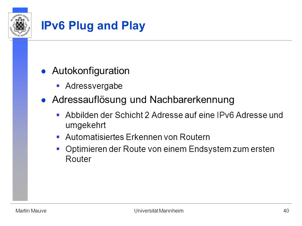 IPv6 Plug and Play Autokonfiguration