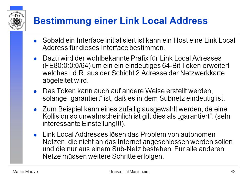 Bestimmung einer Link Local Address