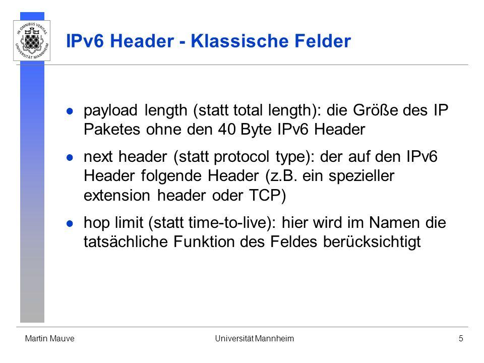 IPv6 Header - Klassische Felder