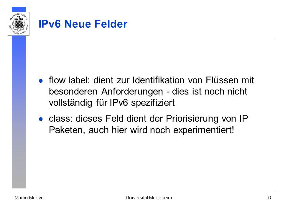 IPv6 Neue Felder