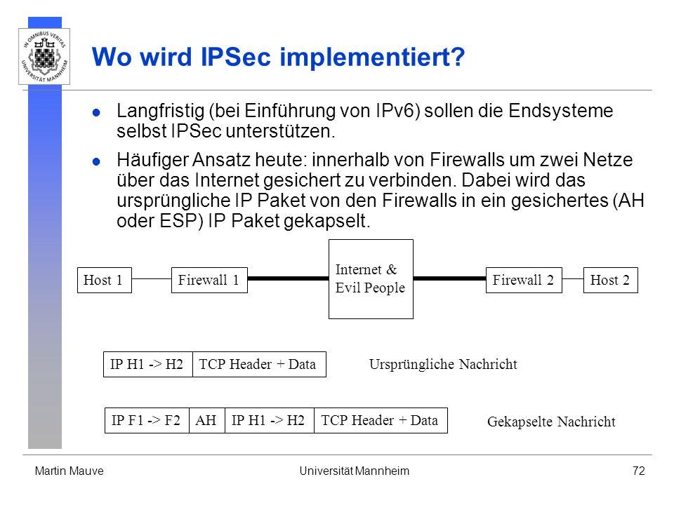 Wo wird IPSec implementiert