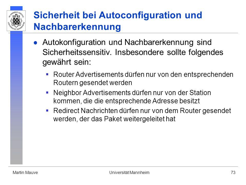 Sicherheit bei Autoconfiguration und Nachbarerkennung
