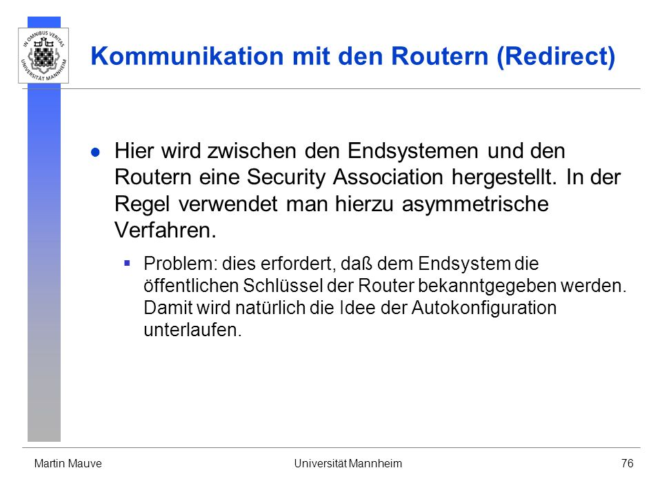 Kommunikation mit den Routern (Redirect)
