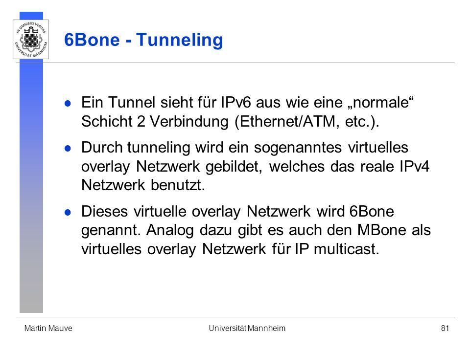"""6Bone - Tunneling Ein Tunnel sieht für IPv6 aus wie eine """"normale Schicht 2 Verbindung (Ethernet/ATM, etc.)."""