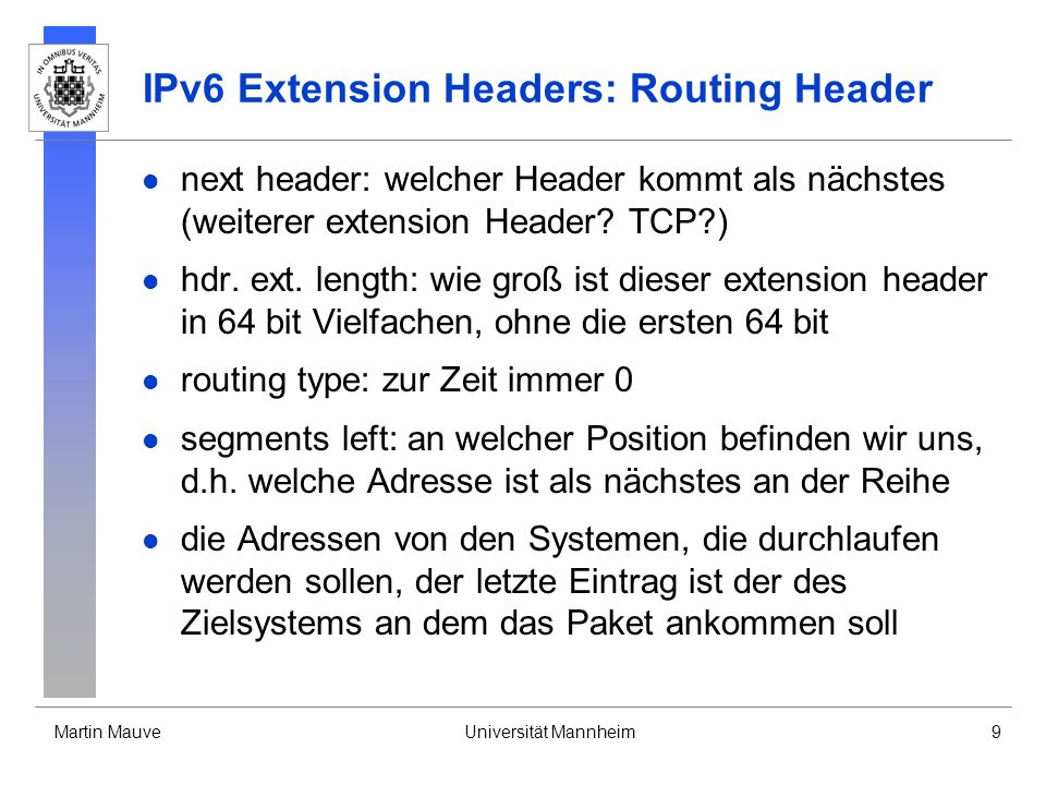 IPv6 Extension Headers: Routing Header