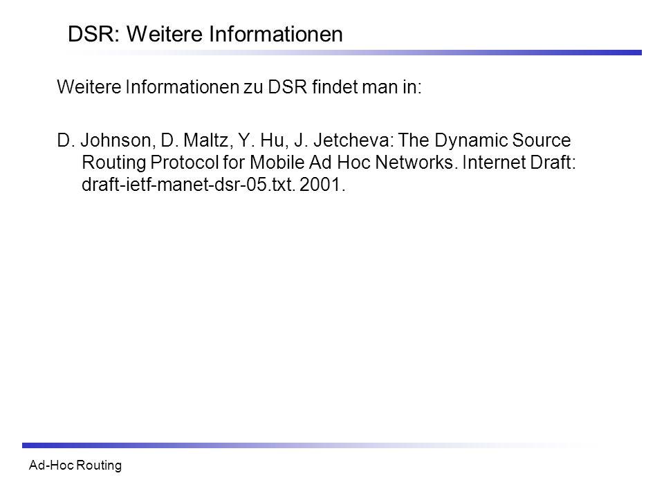 DSR: Weitere Informationen