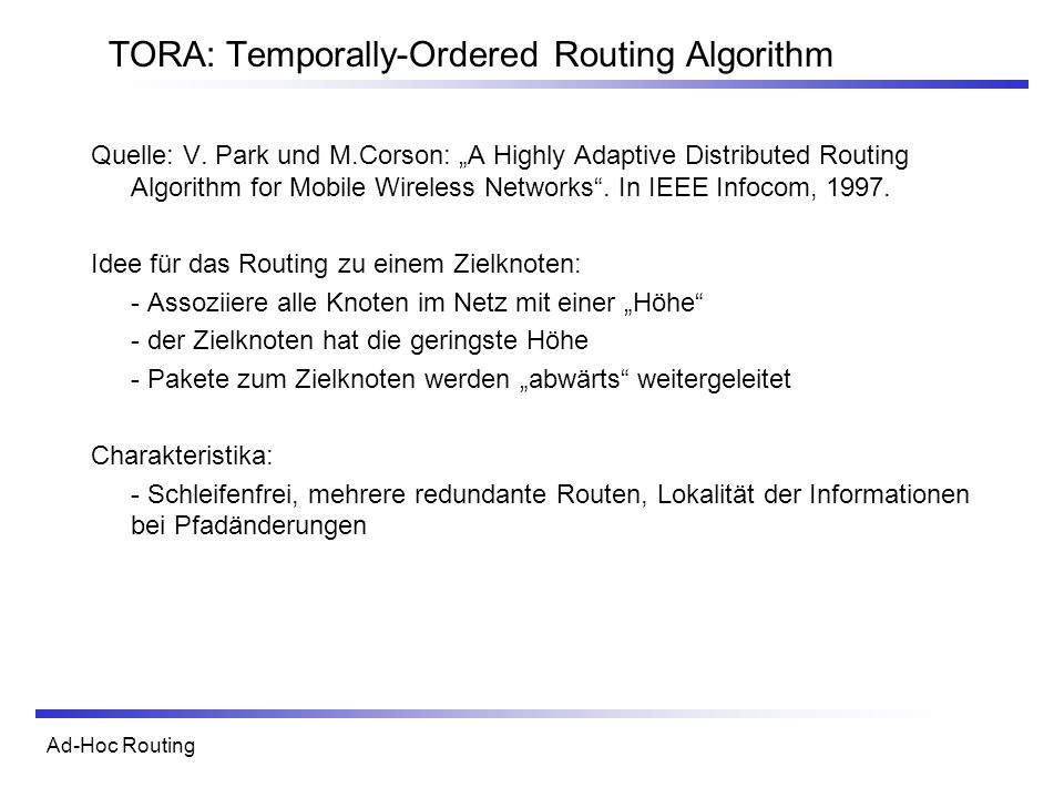 TORA: Temporally-Ordered Routing Algorithm
