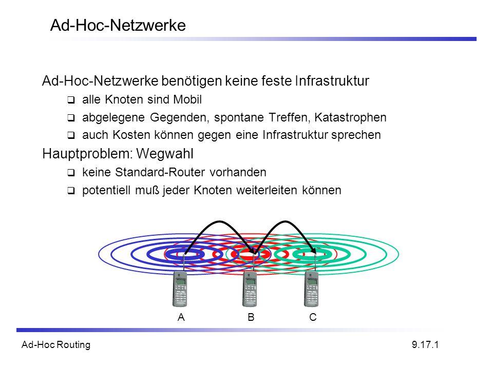 Ad-Hoc-Netzwerke Ad-Hoc-Netzwerke benötigen keine feste Infrastruktur