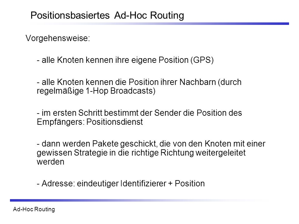 Positionsbasiertes Ad-Hoc Routing