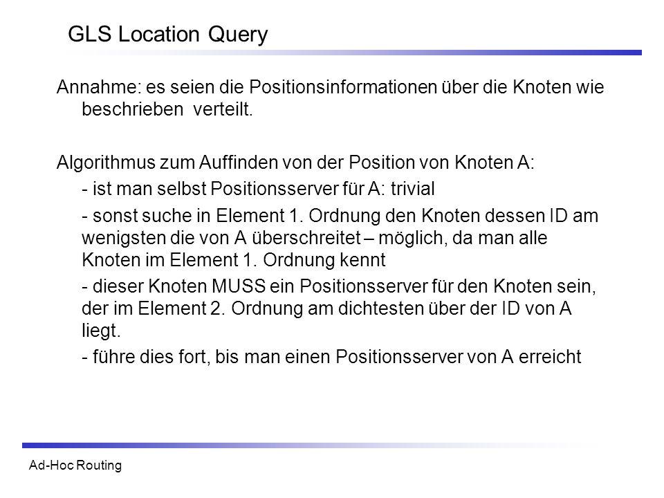 GLS Location Query Annahme: es seien die Positionsinformationen über die Knoten wie beschrieben verteilt.