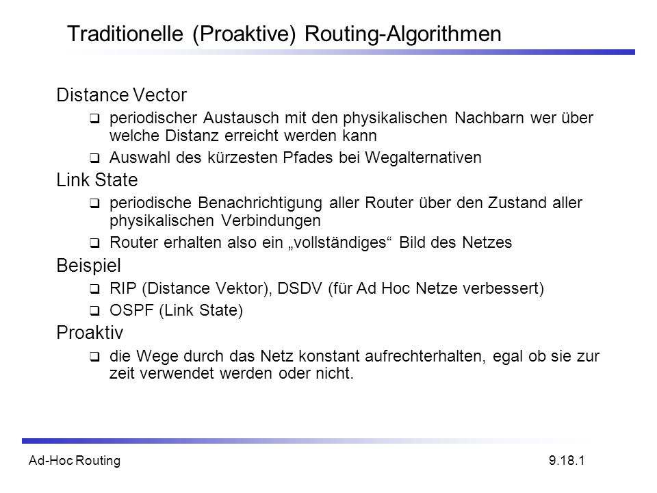 Traditionelle (Proaktive) Routing-Algorithmen