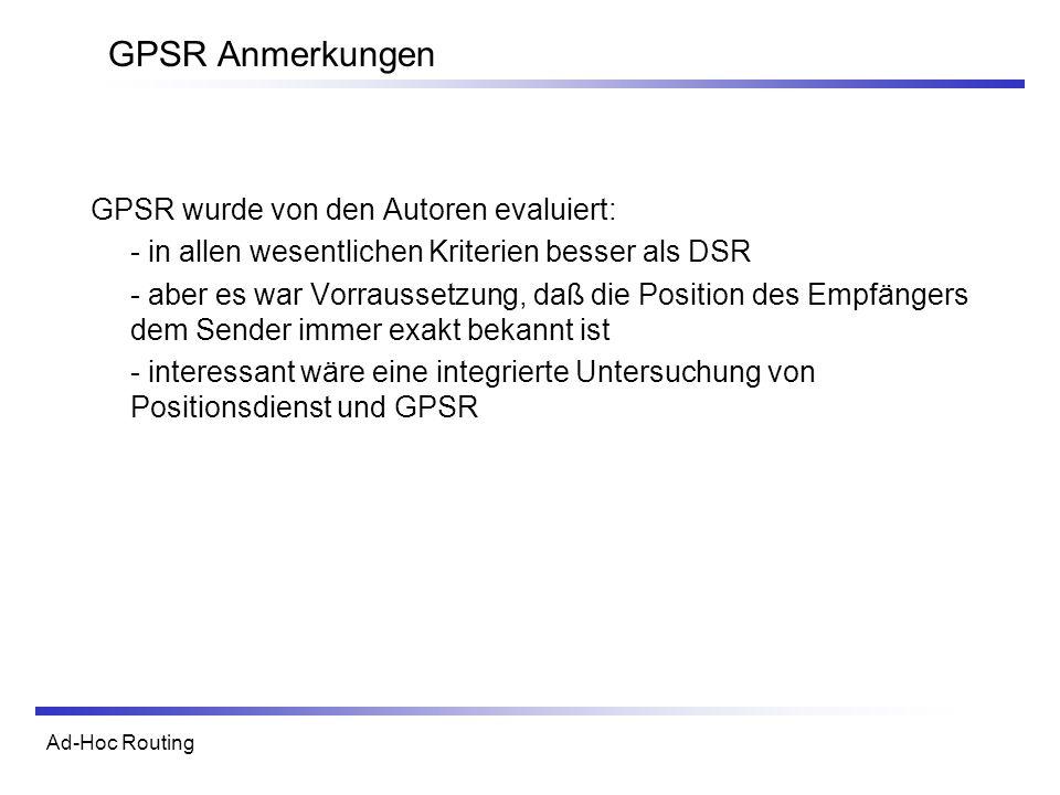 GPSR Anmerkungen GPSR wurde von den Autoren evaluiert: