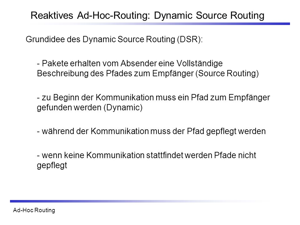 Reaktives Ad-Hoc-Routing: Dynamic Source Routing