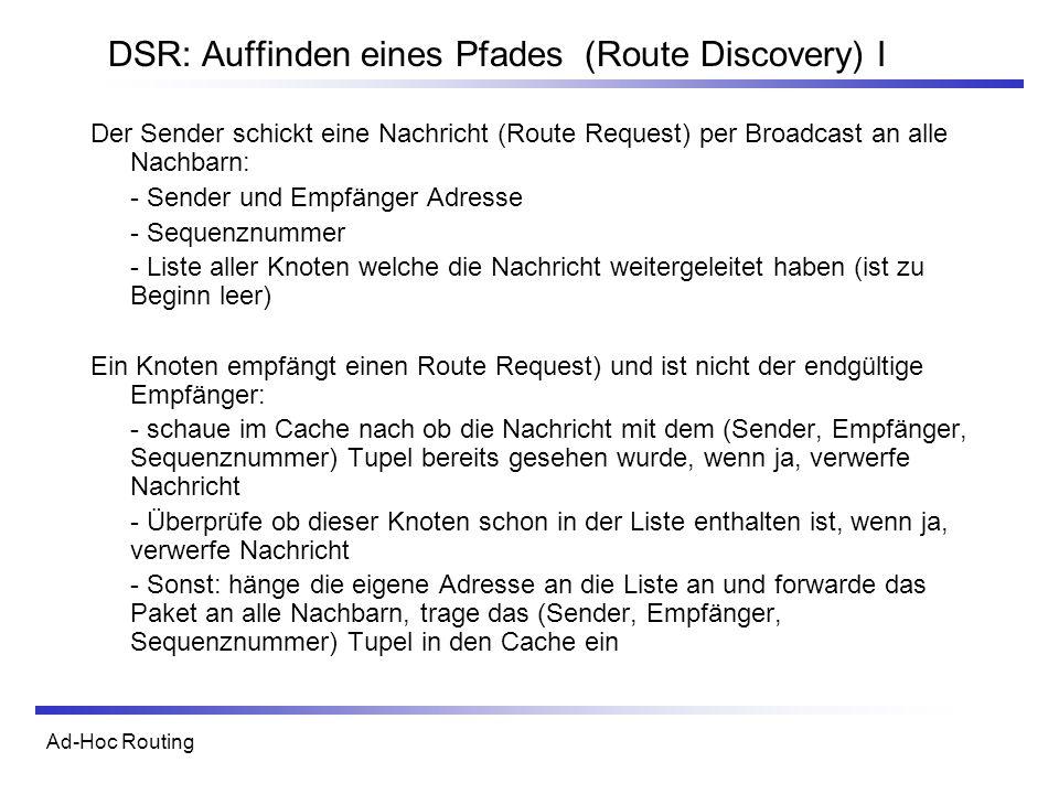 DSR: Auffinden eines Pfades (Route Discovery) I