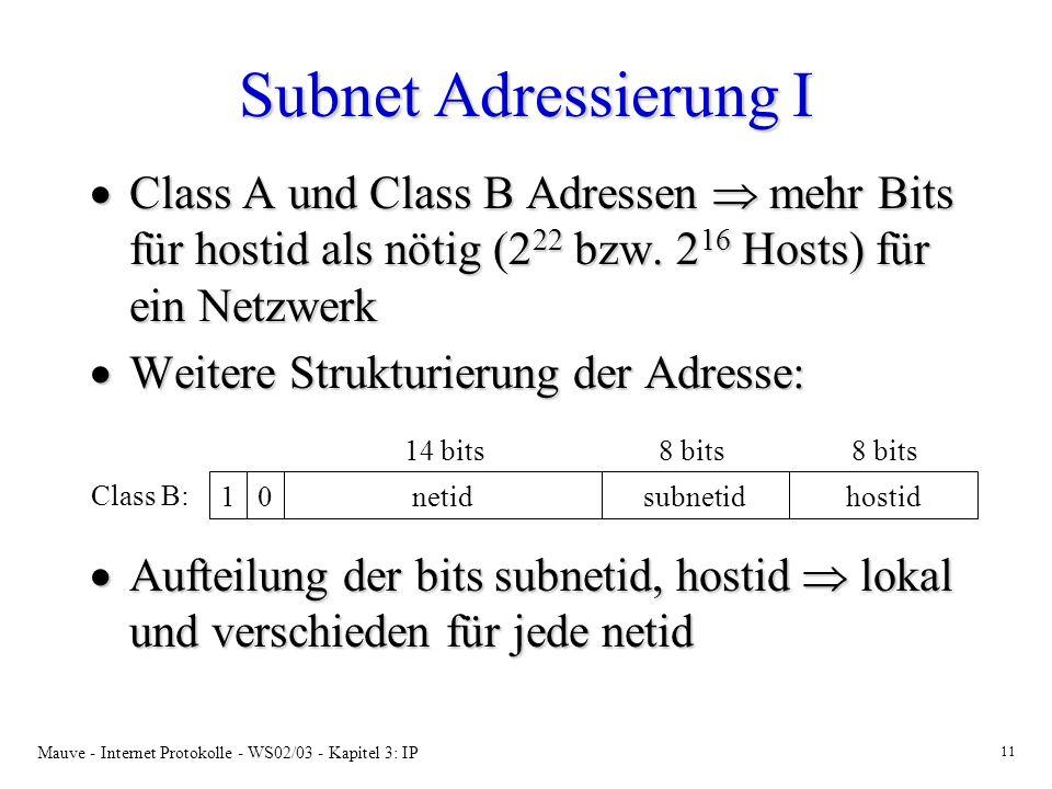 Subnet Adressierung I Class A und Class B Adressen  mehr Bits für hostid als nötig (222 bzw. 216 Hosts) für ein Netzwerk.