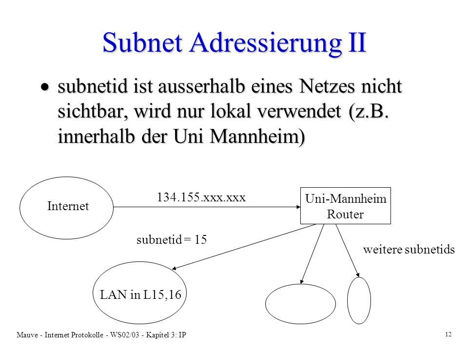 Subnet Adressierung II