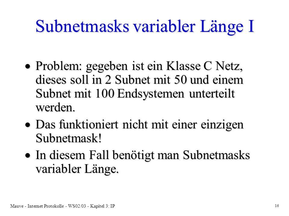 Subnetmasks variabler Länge I