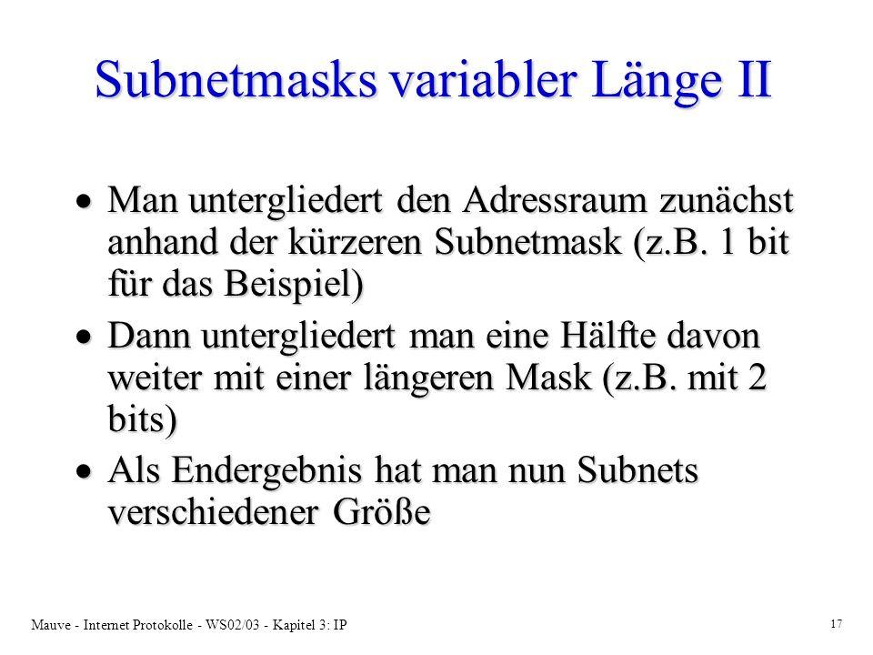 Subnetmasks variabler Länge II
