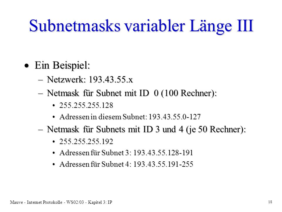 Subnetmasks variabler Länge III