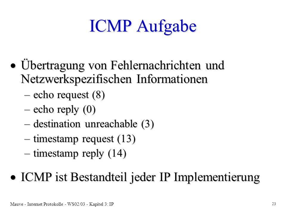 ICMP Aufgabe Übertragung von Fehlernachrichten und Netzwerkspezifischen Informationen. echo request (8)