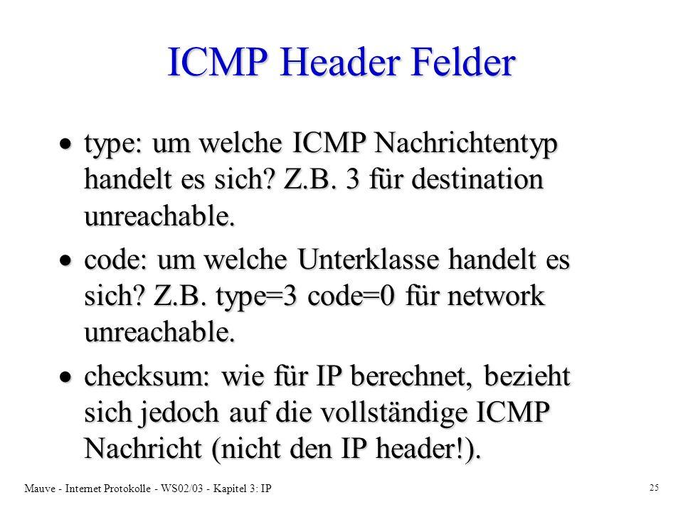 ICMP Header Felder type: um welche ICMP Nachrichtentyp handelt es sich Z.B. 3 für destination unreachable.
