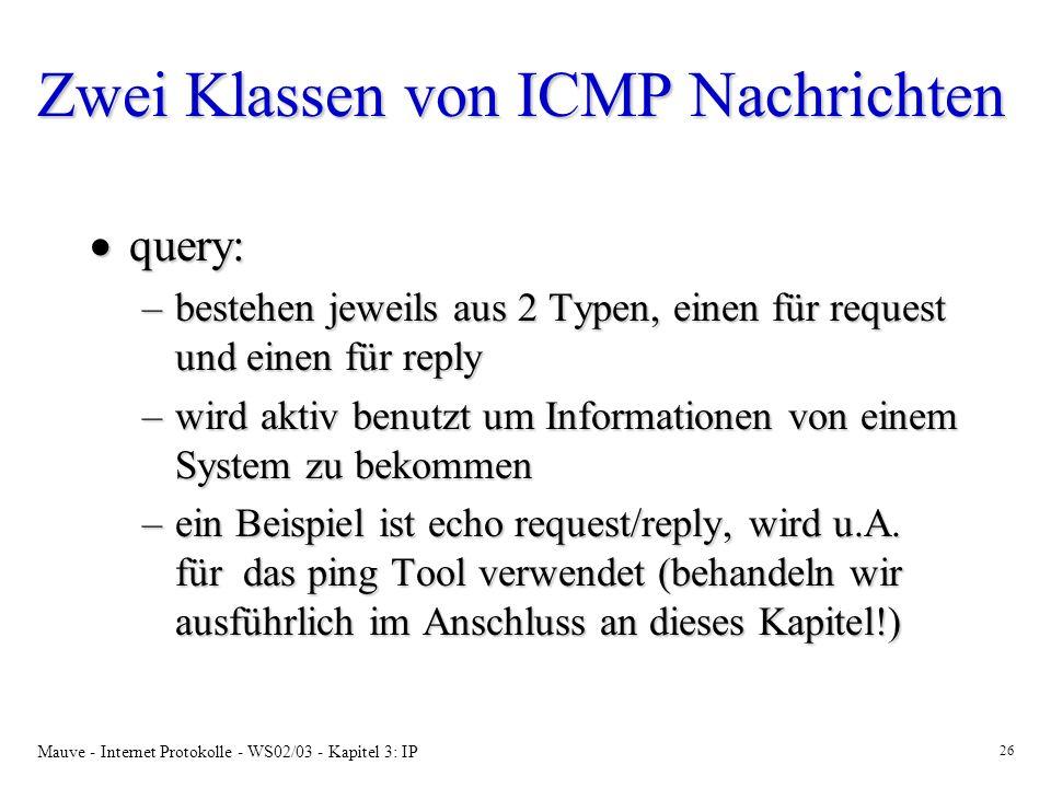Zwei Klassen von ICMP Nachrichten