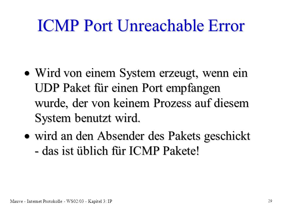 ICMP Port Unreachable Error