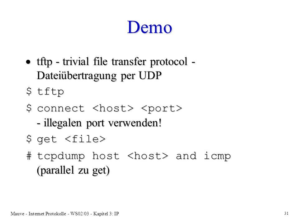 Demo tftp - trivial file transfer protocol - Dateiübertragung per UDP