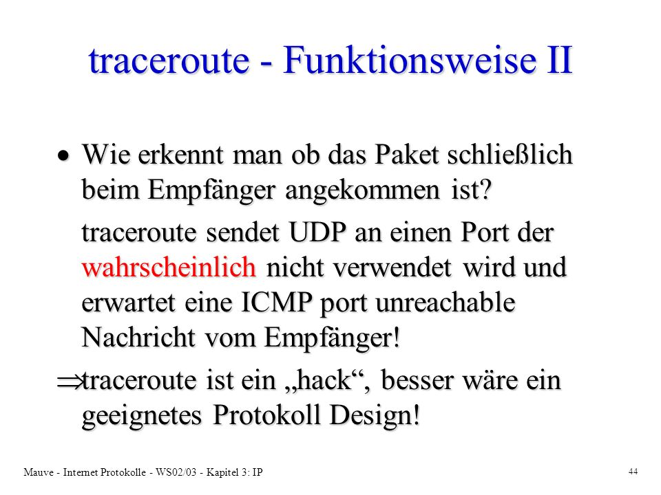 traceroute - Funktionsweise II