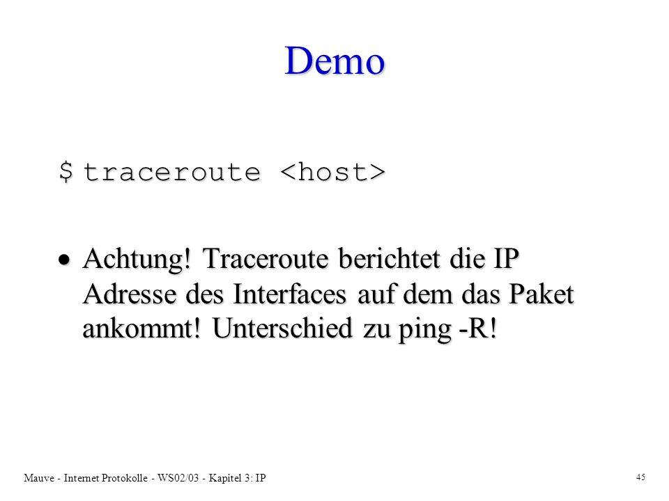 Demo traceroute <host>