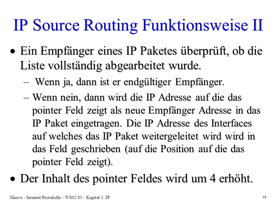 IP Source Routing Funktionsweise II